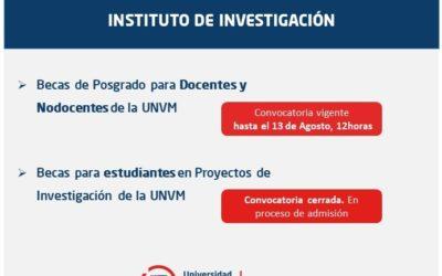 Convocatorias de formación en investigación y posgrado UNVM