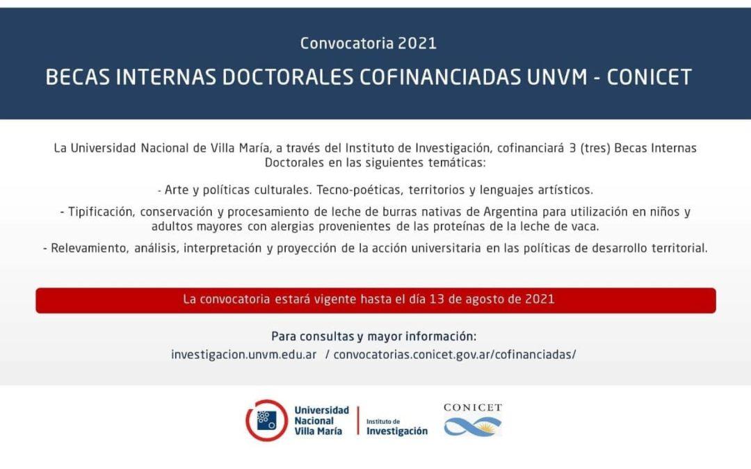 BECAS INTERNAS DOCTORALES COFINANCIADAS UNVM – CONICET